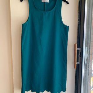 Green Sleeveless Dress with Scalloped Bottom